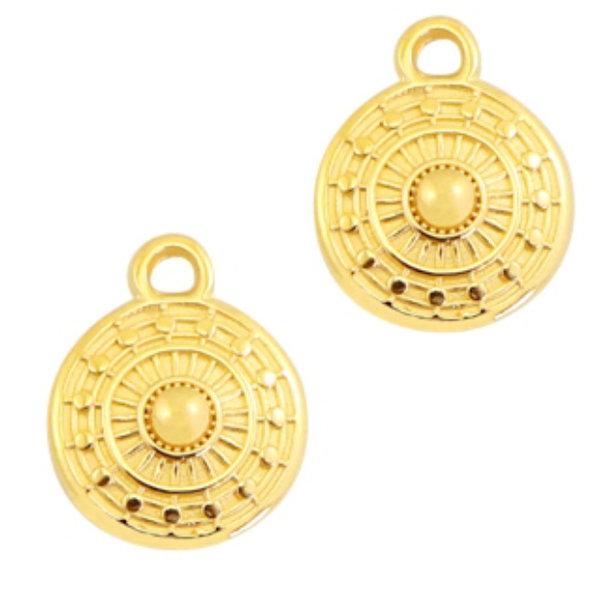 Designer Quality Bohemian Charm Round Golden Nickel Free 11x9mm