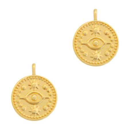 Designer Quality Eye Charm Golden 19x15mm Nickel Free