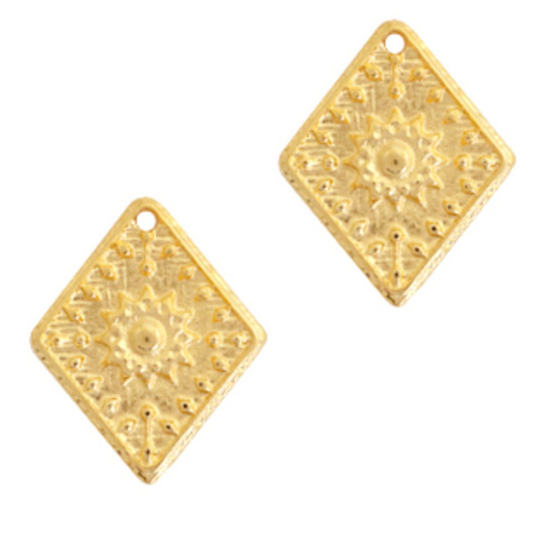Designer Quality Rhombus Flower Charm Golden 25x20mm Nickel Free