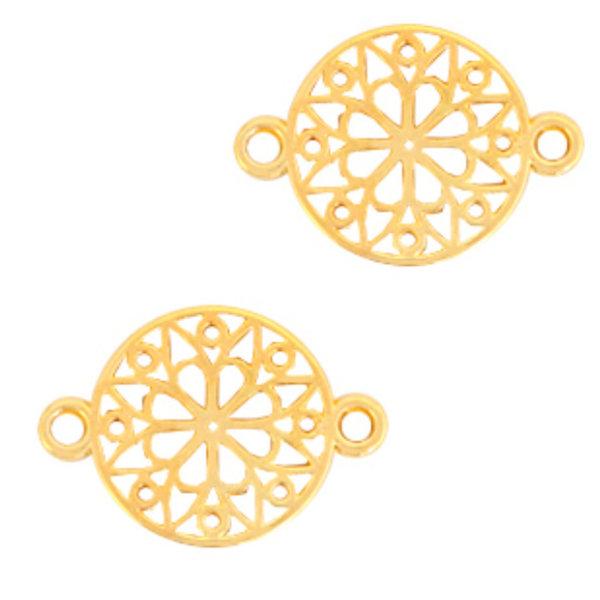 Designer Quality Link Flower Golden 15mm Nickel Free