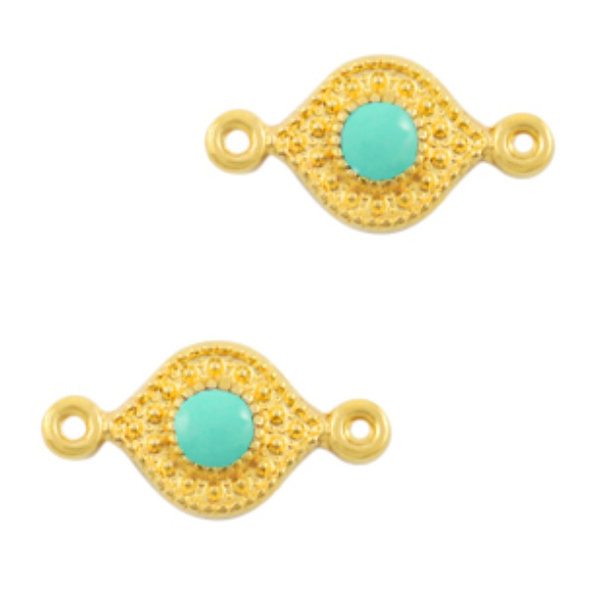 Designer Quality Link Turquoise Gold 15x8mm Nickel Free