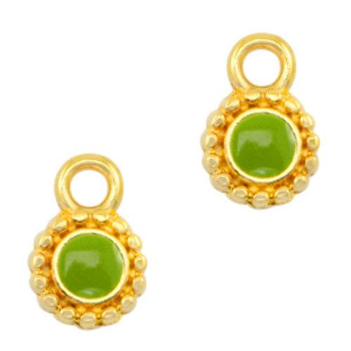 Designer Quality Charm Green Gold 11.5x8mm Nickel Free