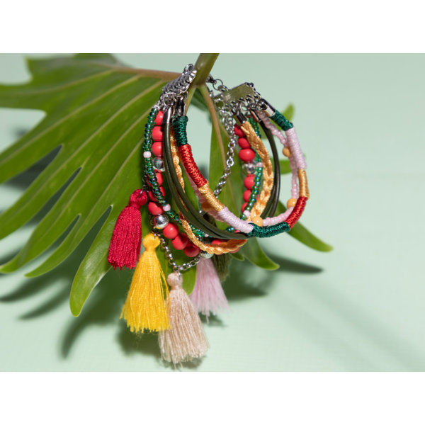 How To Make a Colorful Bracelet with Tassels and Connectors