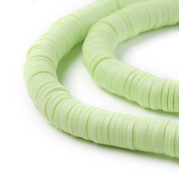 Katsuki Fimo Clay Disc Beads 6mm Light Green, strand 350 pieces