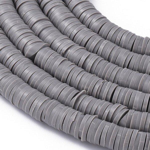 Katsuki Fimo Clay Disc Beads 6mm Grey, strand 350 pieces