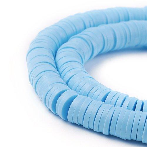 Katsuki Fimo Disc Beads 6mm Light Blue, strand 350 pieces