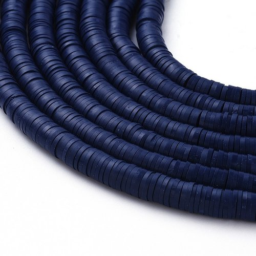 Katsuki Fimo Disc Beads 6mm Dark Blue, strand 350 pieces
