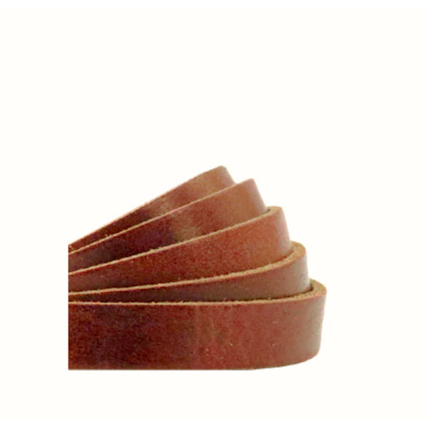 60cm Flat Leather Designer Quality 10mm Brown