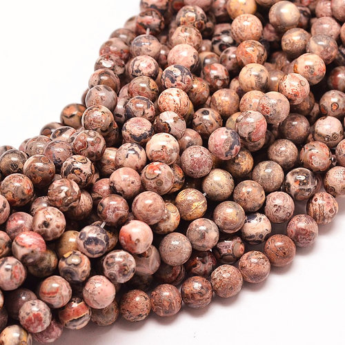 Natural Leopard Skin Jaspis Edelsteen Kralen 12mm, streng 28 stuks