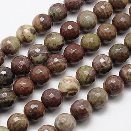 Natural Red Rainbow Jasper Faceted Beads 10mm, strand 34 pieces