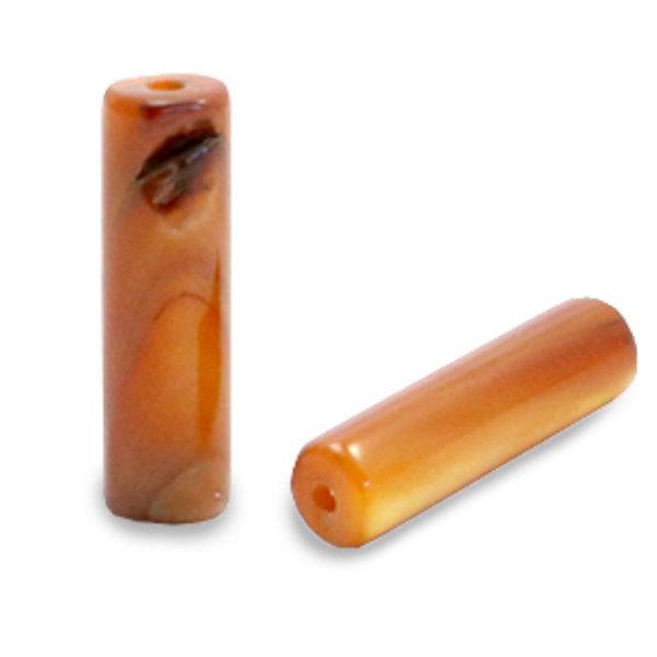 Schelp Kralen Tube Goud Bruin 14x4mm, streng 28 stuks