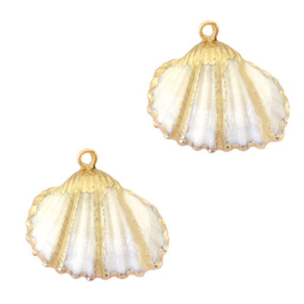 Shell Charm Cockle Gold White 20-25x22mm