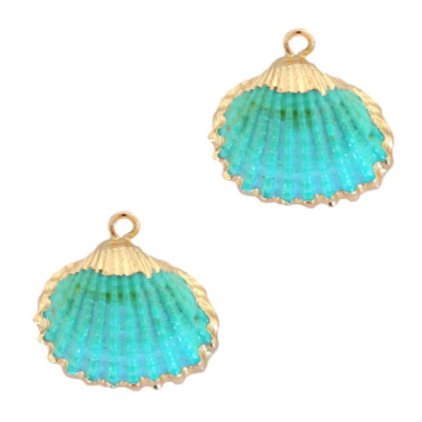 Shell Charm Cockle Gold Turquoise 20-25x22mm