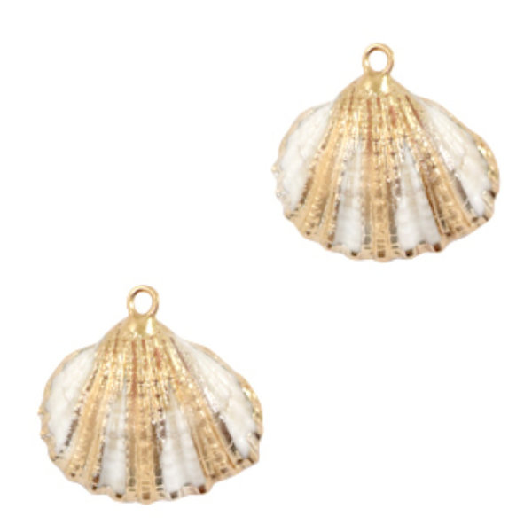Shell Charm Clam Gold Off White 19-20x20-24mm