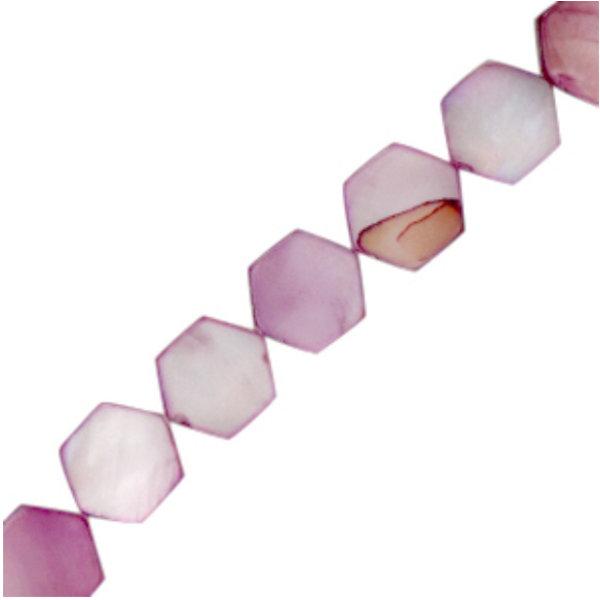 Schelp Kralen Hexagon Paars 8mm, streng 50 stuks