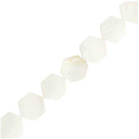 Shell Beads Hexagon White 8mm, strand 50 pieces