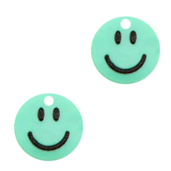 Charm Smiley Mint Green 12mm