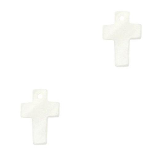 Shell Charm Natural White 13x10mm Cross