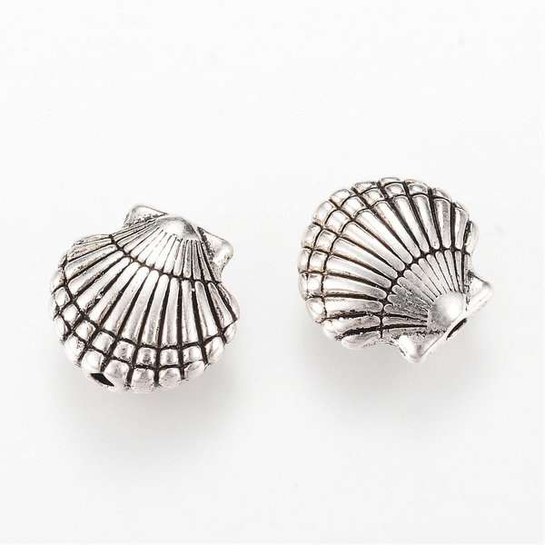 Shell Beads Antique Silver 14x14.5mm, 6 pieces