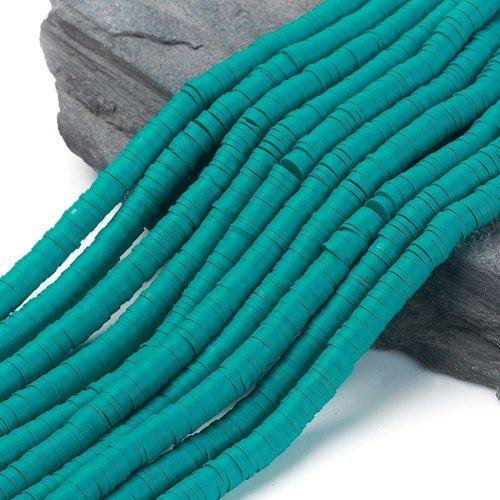 Katsuki Fimo Clay Disc Beads 6mm Cyan, strand 350 pieces