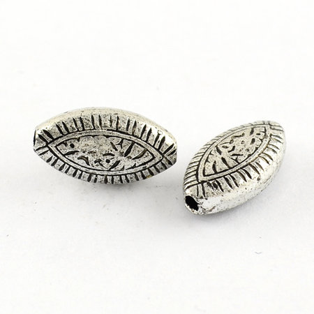 10 Pieces Vintage Acryl Beads Eye Antique Silver 14x7x4mm