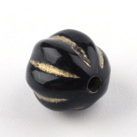 20 stuks Vintage Acryl Kralen Rond Goud Zwart 8mm