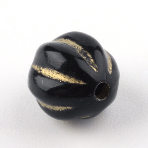 Vintage Acryl Beads Round Metallic Gold Black 8mm, 20 pieces