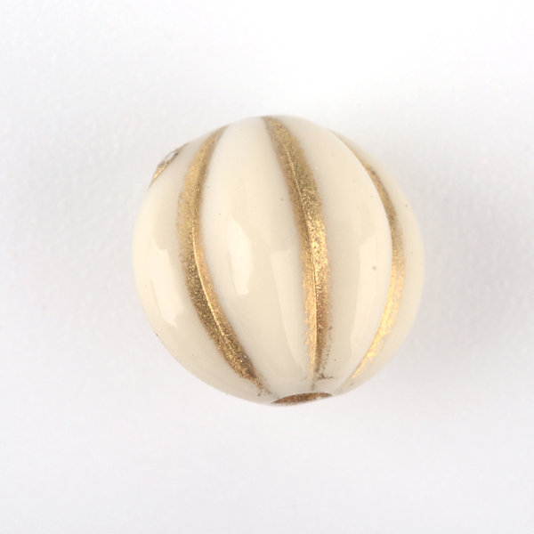 Vintage Acryl Beads Round Metal Gold Beige 8mm, 20 pieces