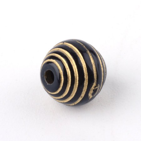 20 Pieces Vintage Acrylic Beads Round Gold Black 7.5mm