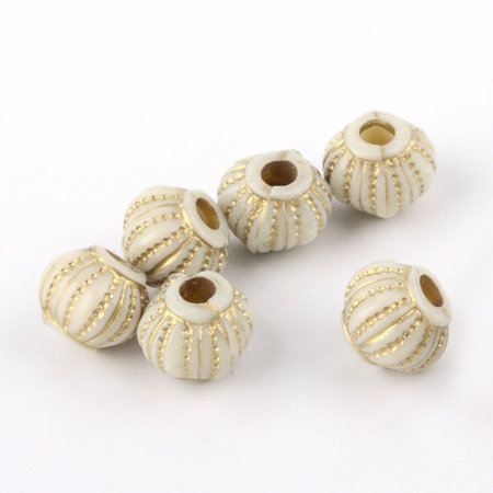 20 Pieces Vintage Acrylic Beads Lantarn Golden Beige 6.5x7.5mm