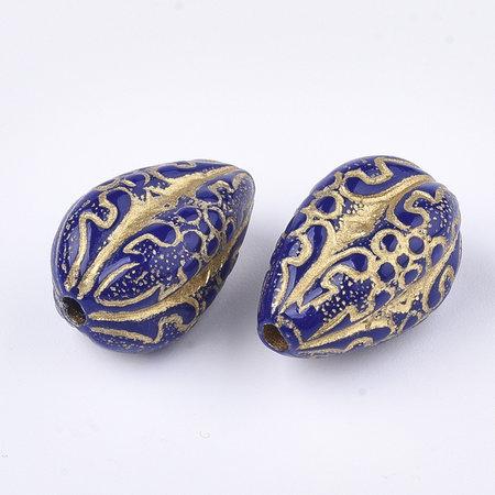 6 Pieces Vintage Acrylic Beads Teardrop Blue 18.5x11mm