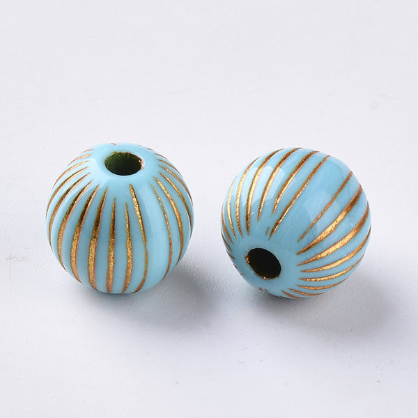 Vintage Acrylic Beads Round Metal Golden Turquoise 11.5mm, 10 pieces