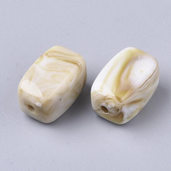 Gemstone Look Acrylic Beads Cuboid White Camel 13x7.5mm, 10 pieces