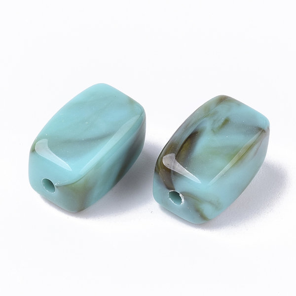 Acrylic Beads Cuboid Gemstone Look Turquoise 13x7.5mm, 10 pieces