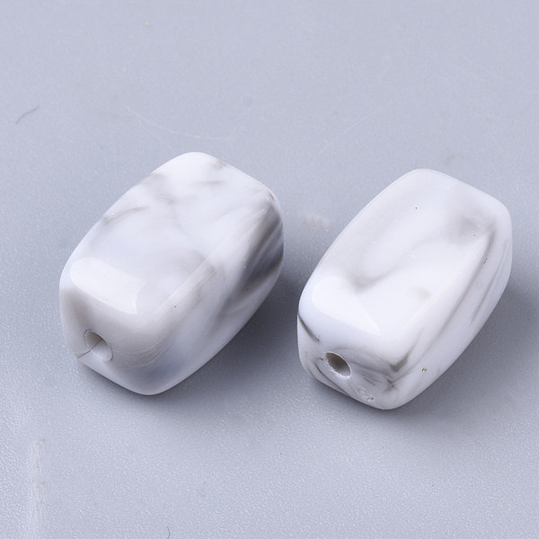Gesmtone Look Acrylic Beads Cuboid White Grey 13x7.5mm, 10 pieces