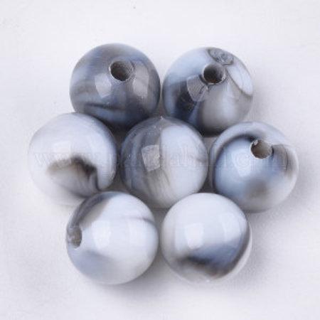 50 stuks Gemstone Look Acryl Kralen Licht Grijs 8mm