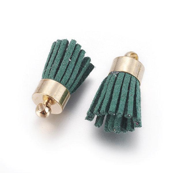 Suede Kwastje Donker Groen 17x7mm Goud, 5 stuks