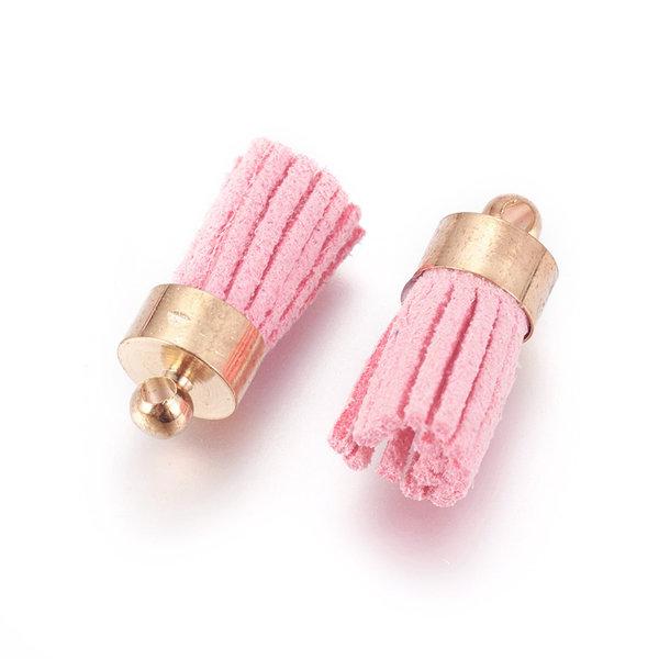 Suede Tassel Light Pink 17x7mm Golden, 5 pieces
