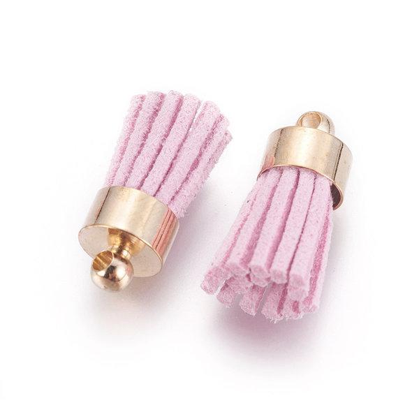 Suede Tassel Pearl Pink 17x7mm Golden, 5 pieces