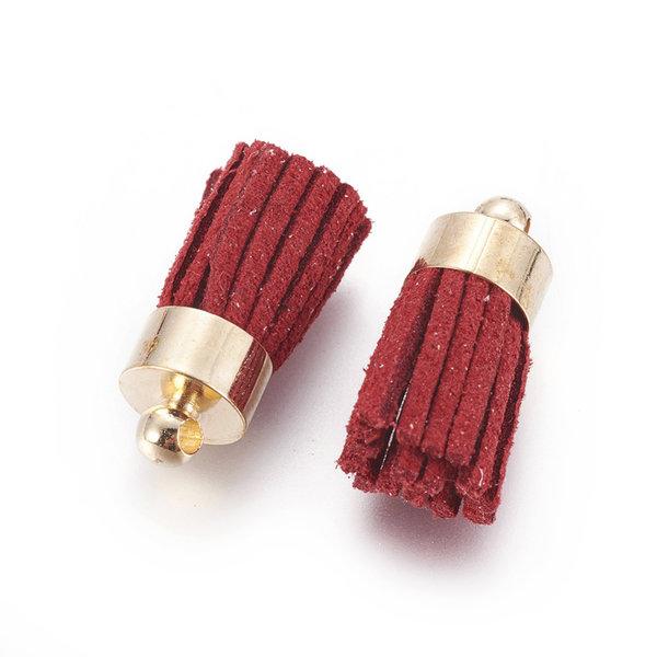 Suede Tassel Dark Red 17x7mm Golden, 5 pieces