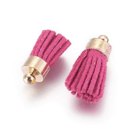 Suede Tassel Dark Pink 17x7mm Golden, 5 pieces