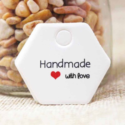 """100 pieces Heart Gift and Price Labels  """"Handmade with Love"""" 30x35mm"""
