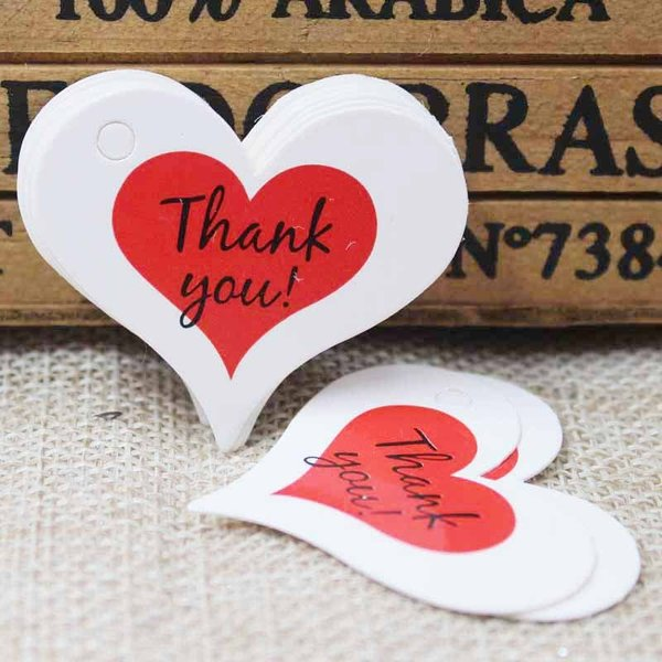 """100 pieces Heart Gift Labels """"Thank You"""" 32x39mm"""