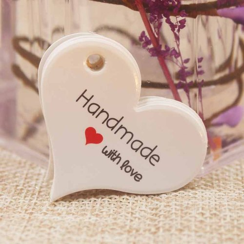 """100 pieces Heart Gift Labels """"Handmade with Love"""" 32x39mm"""