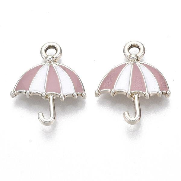 Umbrella Charm Silver Pink 19x15.5mm