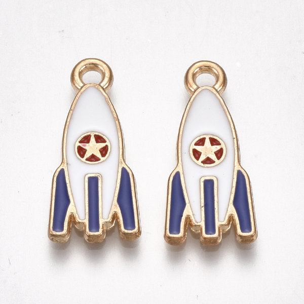 Rocket Charm Gold White Red Blue 21x9mm