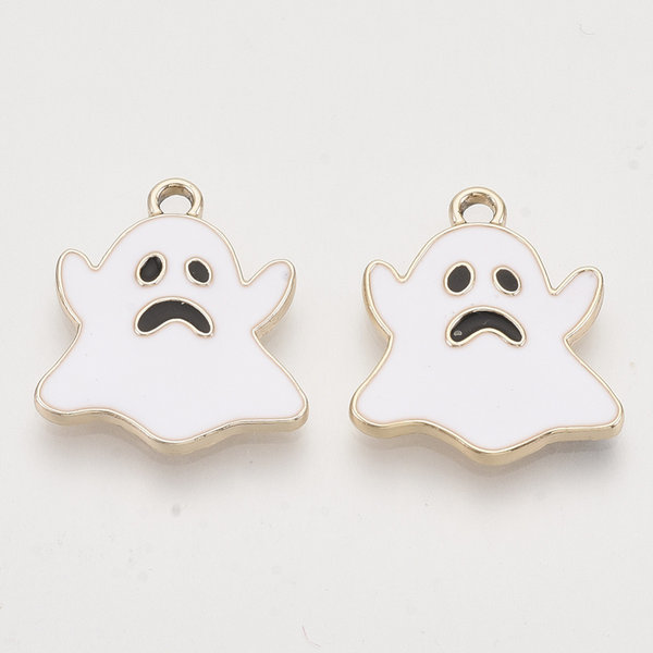 Ghost Charm Gold Plated White 20.5x18mm