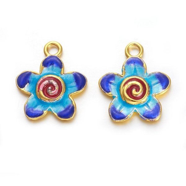 Flower Charm Blue Red Gold 22.5x23mm