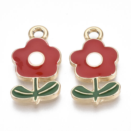 Flower Charm Gold Red Green Nickel Free 19.5x11mm