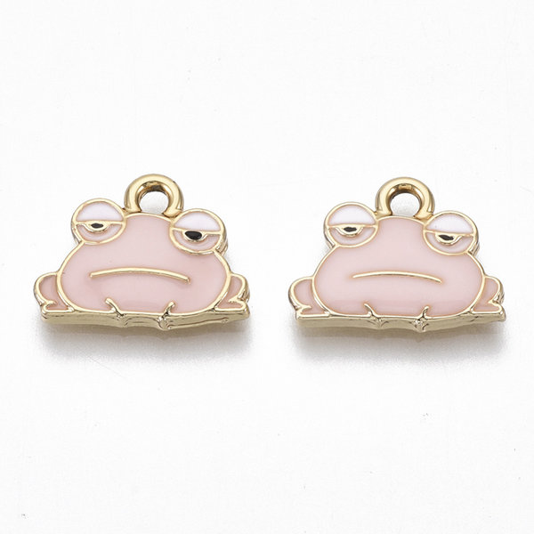Frog Charm Gold Pink Nickel Free 12.5x15.5mm